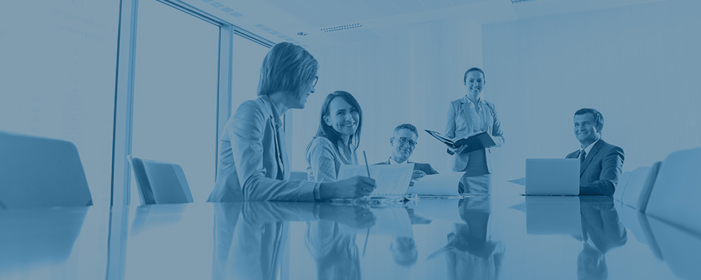 financial professionals having a meeting at conference table